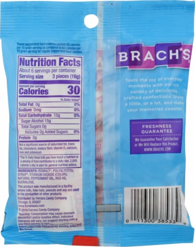 Brach's® Star Brites® Sugar Free Peppermint Candy Perspective: back