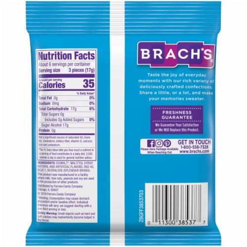 Brach's® Sugar Free Cinnamon Hard Candy Perspective: back