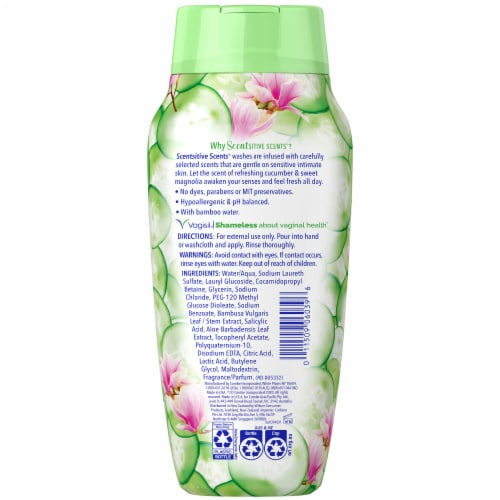 Vagisil Scentsitive Scents Cucumber Magnolia Daily Intimate Wash Perspective: back