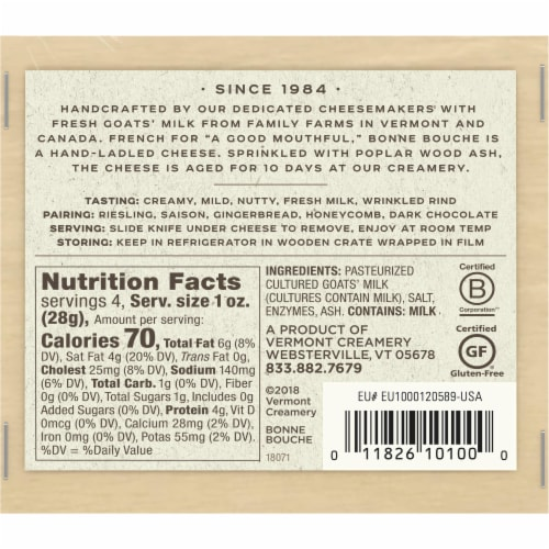 Vermont Creamery Bonne Bouche Ash-Ripened Goat Cheese Perspective: back