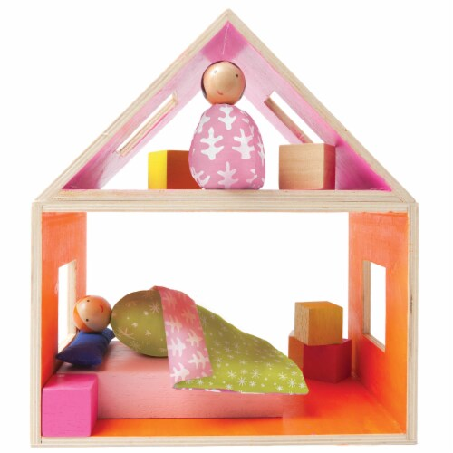 Manhattan Toy MIO Sleeping Place + 2 Peg Dolls Montessori Style Wooden Building Playset Perspective: back