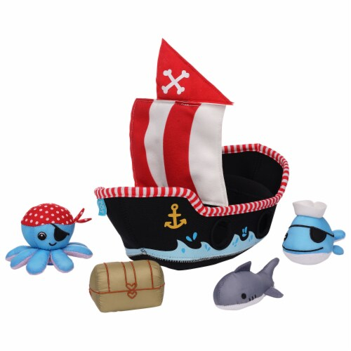 Manhattan Toy Neoprene Pirate Ship 5 Piece Floating Spill n Fill Bath Toy Perspective: back