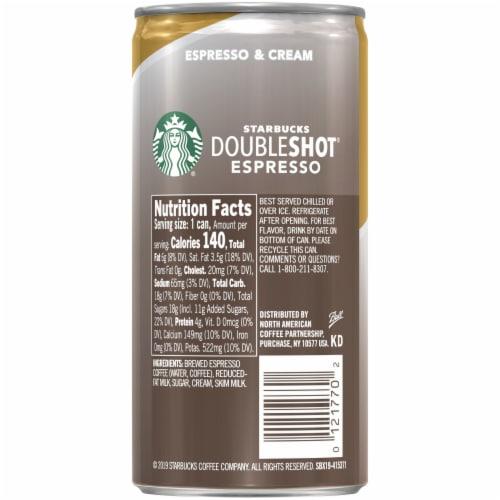 Starbucks Doubleshot Espresso & Cream Premium Espresso Beverage Perspective: back