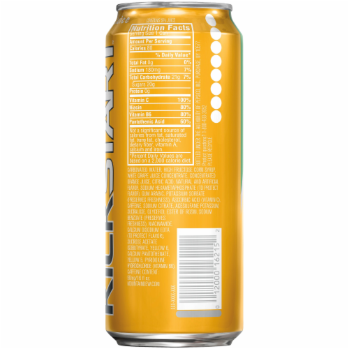 Mountain Dew Kickstart Mango Lime Energy Drink Can Perspective: back