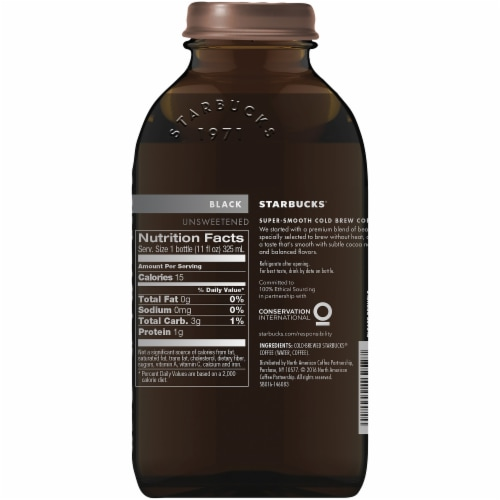 Starbucks Cold Brew Black Unsweetened Iced Coffee Drink Perspective: back
