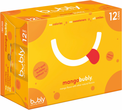 bubly Sparkling Water Mango 12 oz 12 Pack Perspective: back