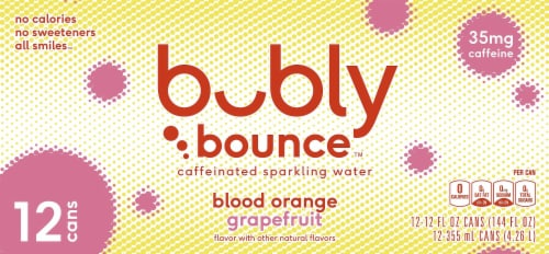 bubly Bounce Blood Orange Grapefruit Caffeinated Sparkling Water Perspective: back