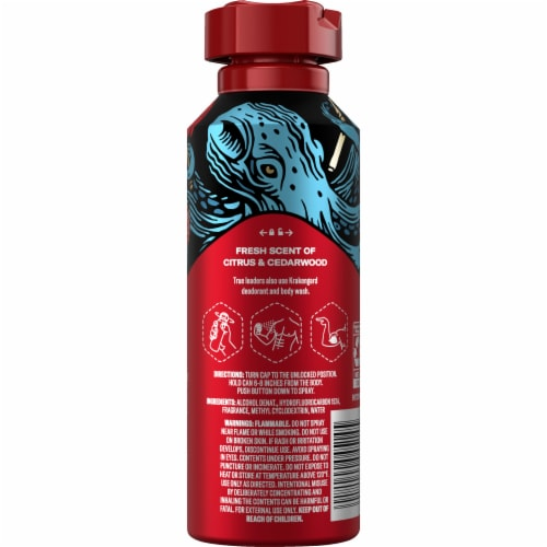 Old Spice Men Body Spray Aluminum Free Wild Collection Krakengard Perspective: back
