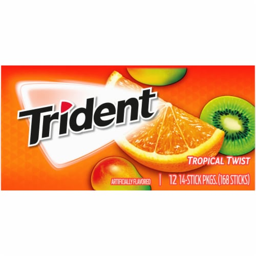 Trident Tropical Twist Sugar Free Gum (12 Pack) Perspective: back