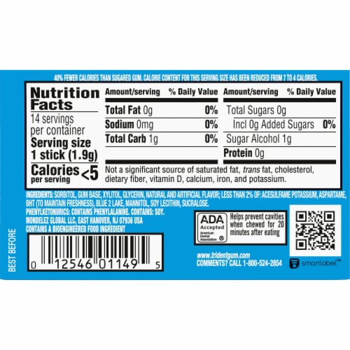 Trident Mint Bliss Sugar Free Gum 14 Count Perspective: back