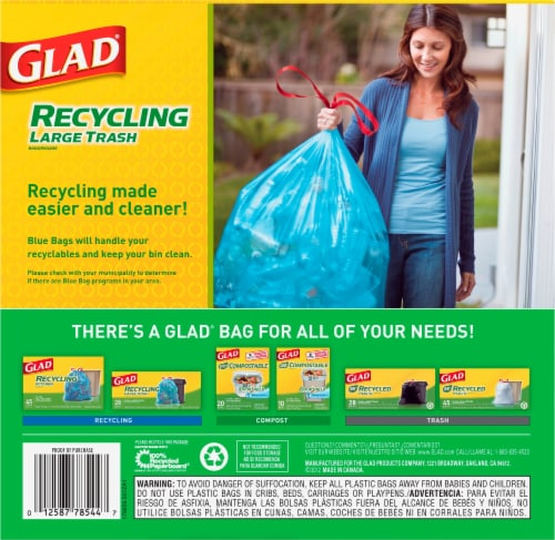 Glad Blue Recycling Large Trash Bags Perspective: back