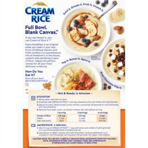 Cream of Rice® Gluten Free Hot Cereal Perspective: back