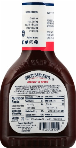 Sweet Baby Ray's Sweet 'n Spicy Barbecue Sauce Perspective: back