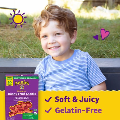 Annie's Organic Berry Patch Bunny Fruit Snacks Value Pack Perspective: back