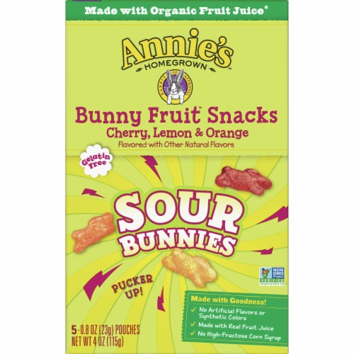 Annie's Homegrown Sour Bunnies Bunny Fruit Snacks Perspective: back