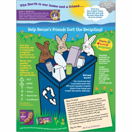 Annie's Organic Friends Bunnies Cereal Perspective: back