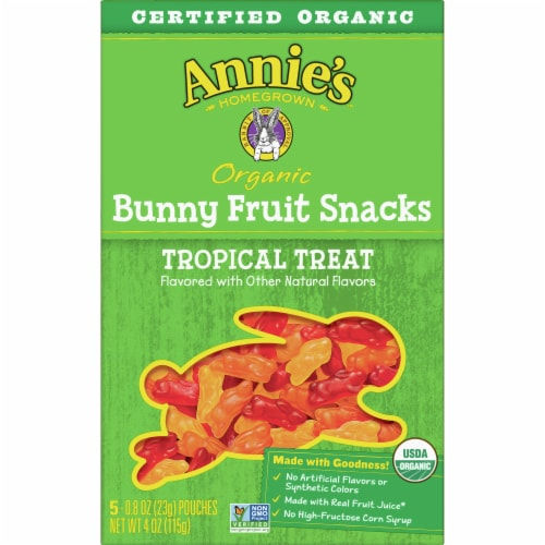 Annie's Organic Tropical Treat Bunny Fruit Snacks Perspective: back