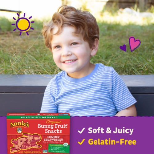 Annie's Organic Summer Strawberry Bunny Fruit Snacks Perspective: back