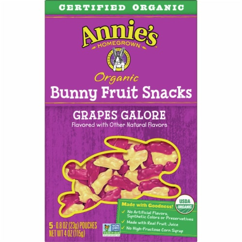 Annie's Organic Grape Galore Bunny Fruit Snacks Perspective: back