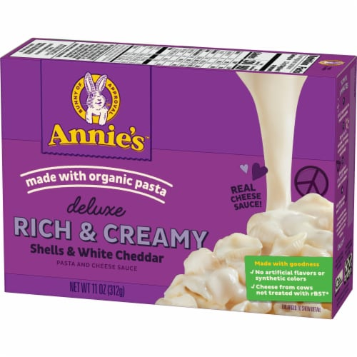 Annie's Deluxe Rich & Creamy Shells & White Cheddar Mac & Cheese Sauce Perspective: back