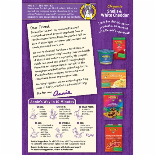 Annie's Organic Shells & White Cheddar Macaroni & Cheese Family Size Perspective: back
