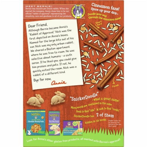 Annie's Bunny Grahams Gluten Free SnickerDoodle Graham Style Snacks Perspective: back