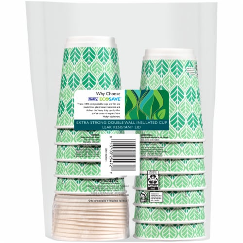 Hefty Ecosave Compostable Hot Cups and Lids Perspective: back