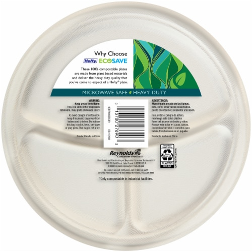 Hefty EcoSave 100% Compostable 10.13-Inch Paper Plates Perspective: back