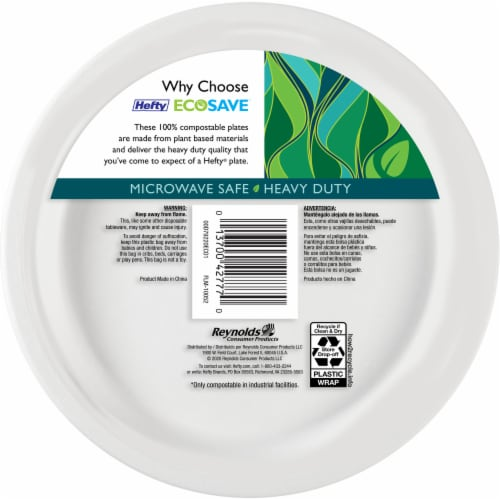 Hefty EcoSave 100% Compostable Paper Plates Perspective: back