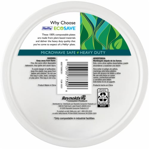 Hefty EcoSave Compostable Plates Perspective: back