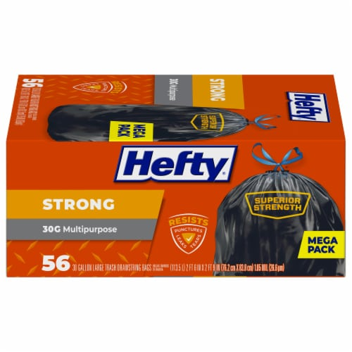 Hefty Strong Multipurpose 30-Gallon Large Drawstring Trash Bags Mega Pack Perspective: back