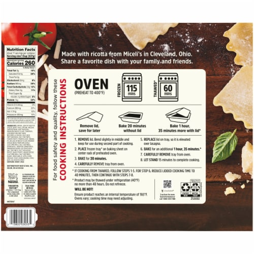 Stouffer's Cheese Lover's Lasagna Frozen Meal Party Size Perspective: back