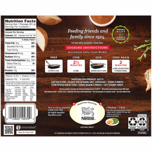 Stouffer's Classics Fried Chicken Frozen Meal Perspective: back