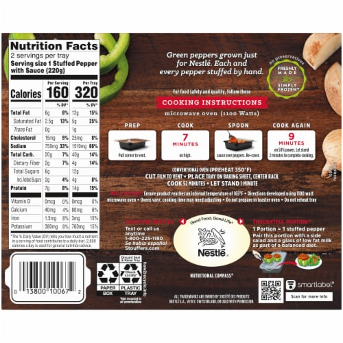 Stouffer's Stuffed Peppers Large Size Frozen Meal Perspective: back