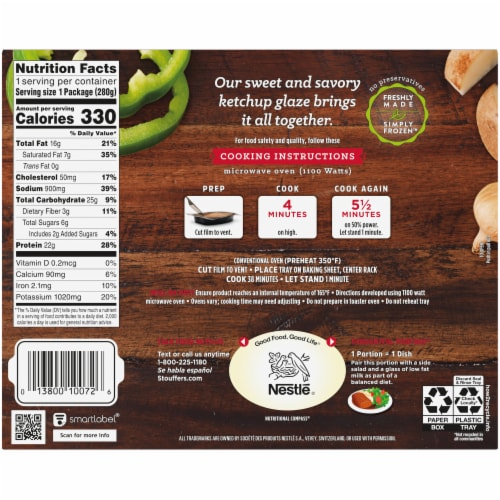 Stouffer's Classic Meatloaf Frozen Meal Perspective: back
