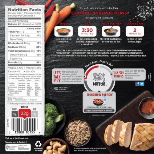 Stouffer's Fit Kitchen Chicken with Cashews Protein Bowl Frozen Meal Perspective: back