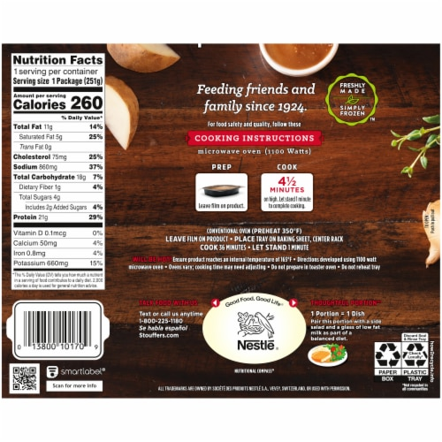 Stouffer's Classics Baked Chicken Breast Frozen Meal Perspective: back