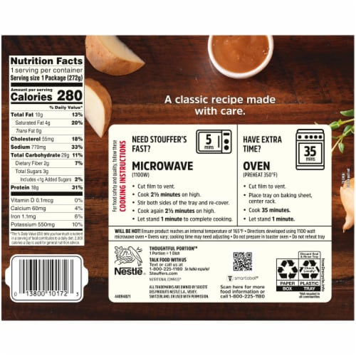 Stouffer's Roast Turkey Frozen Meal Perspective: back