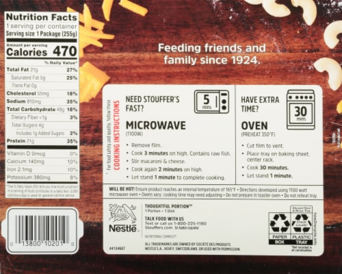 Stouffer's Fish Filet Frozen Meal Perspective: back