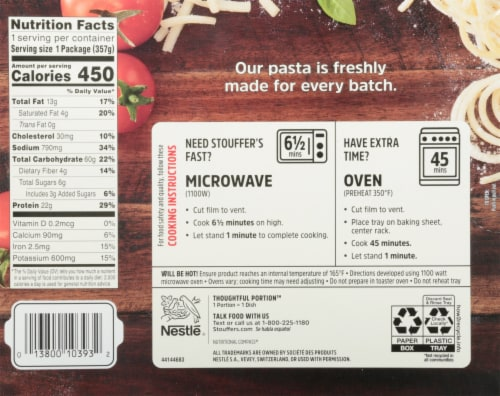 Stouffer's® Spaghetti with Meatballs Frozen Meal Perspective: back
