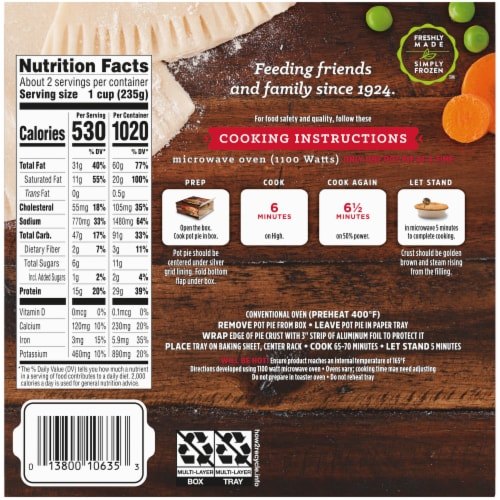 Stouffer's White Meat Chicken Pot Pie Frozen Meal Perspective: back