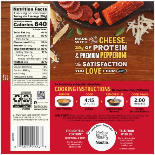 Stouffer's® Mac-Fulls™ Pepperoni Pizza Mac & Cheese Bowl Frozen Meal Perspective: back