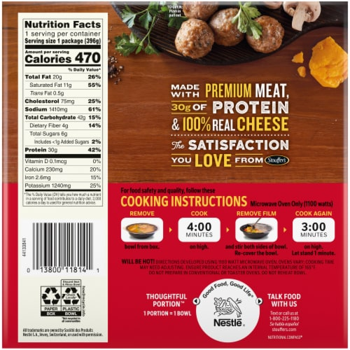 Stouffer's® Bowl-Fulls® Classic Pub Meatballs & Mashed Potatoes Frozen Meal Perspective: back