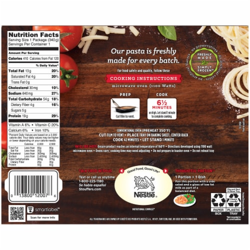 Stouffer's Spaghetti with Meat Sauce Frozen Meal Perspective: back