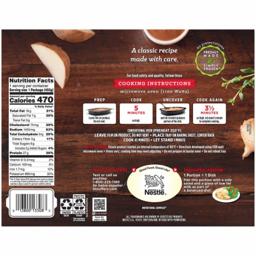 Stouffer's Roast Turkey Dinner Frozen Meal Perspective: back