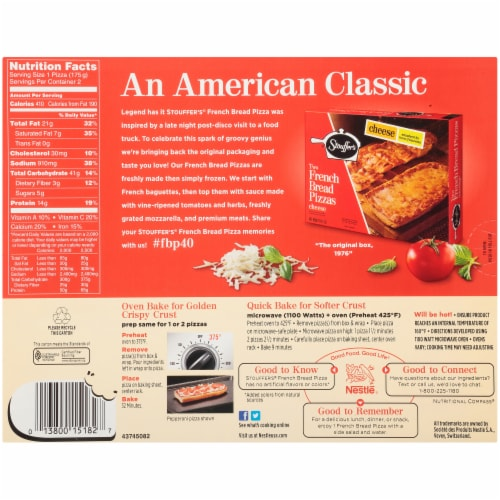 Stouffer's Deluxe French Bread Frozen Pizza Perspective: back