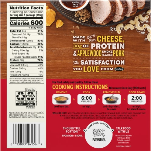 Stouffer's® Mac-Fulls™ BBQ Recipe Pork Mac & Cheese Bowl Frozen Meal Perspective: back