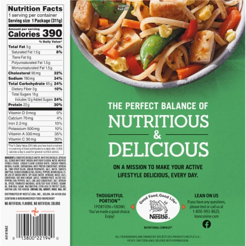 Lean Cuisine Chicken Pad Thai Bowl Frozen Meal Perspective: back