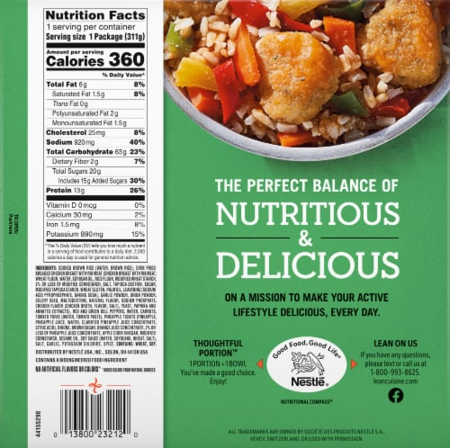 Lean Cuisine® Bowls Sweet and Sour Chicken Frozen Meal Perspective: back