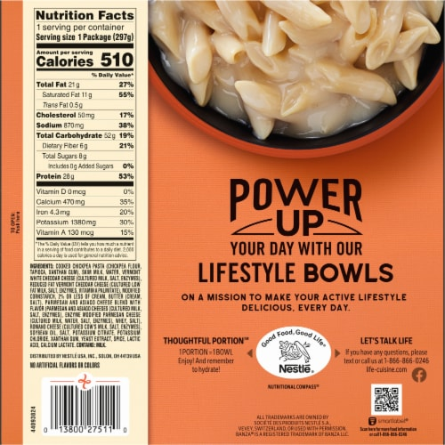 Life Cuisine Triple Cheese Macaroni & Cheese Bowl Frozen Meal Perspective: back